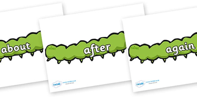 KS1 Keywords on Caterpillars - KS1, CLL, Communication language and literacy, Display, Key words, high frequency words, foundation stage literacy, DfES Letters and Sounds, Letters and Sounds, spelling