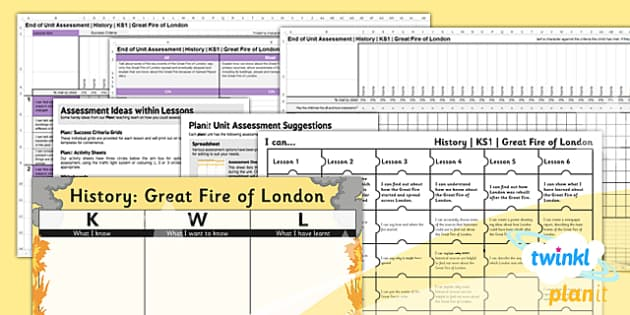 PlanIt History KS1 The Great Fire of London Unit Assessment Pack - recording, measuring, progress, learning, marking, mark, data, objectives, key stage 1, humanities, topic