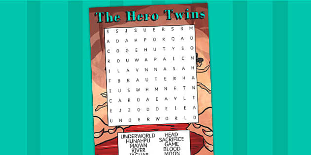 The Hero Twins Mayan Civilization Story Differentiated Wordsearch