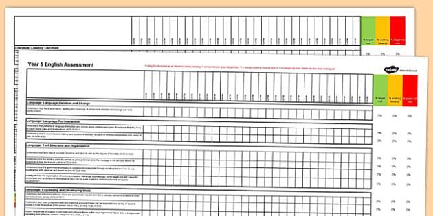 Australian Curriculum Year 5 English Assessment Spreadsheet - australia, curriculum, assessment