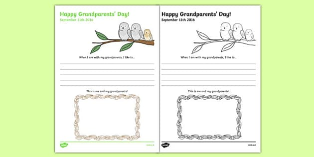 Grandparents' Day Draw and Write Activity Sheet, worksheet