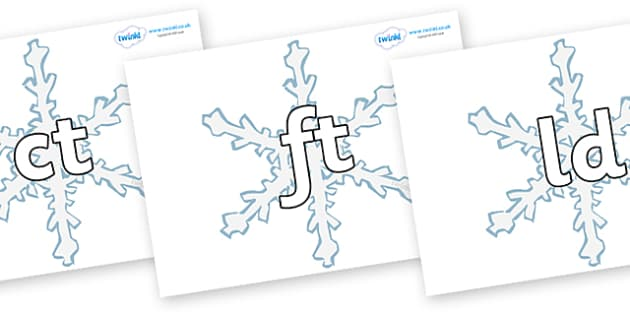 Final Letter Blends on Snowflakes - Final Letters, final letter, letter blend, letter blends, consonant, consonants, digraph, trigraph, literacy, alphabet, letters, foundation stage literacy