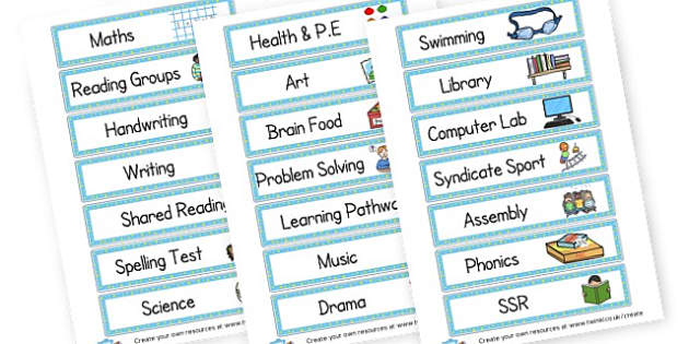 Class Timetable - Visual Timetables Primary Resources, visual, timetables, routine