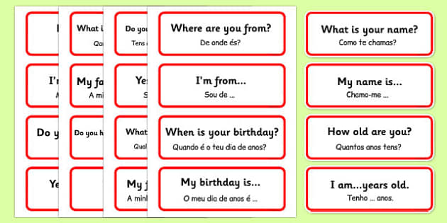 Basic Phrases Word Cards Portuguese Translation - portuguese, basic phrases, word cards, word, cards, basic, phrase