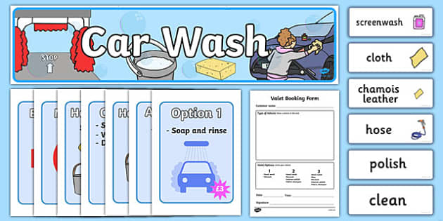 Car Wash Role Play Pack - car wash, car, cars, wash, clean, role play, play, pack, sponge, polish, bucket, clean cars, screen wash, hose, nozzle, pressure, washer, air pump, brush