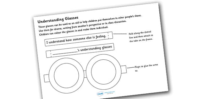 Understanding Glasses - understanding glasses, glasses, empathy, diversity, discrimination, acceptance, differences, eyes, eyewear, craft, understanding