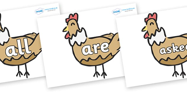 Tricky Words on French Hens - Tricky words, DfES Letters and Sounds, Letters and sounds, display, words