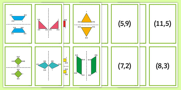2D Shape Reflection Matching Cards - Position and Direction, coordinates, reflection, symmetry, reflective symmetry, mirror line, congruent, congruence