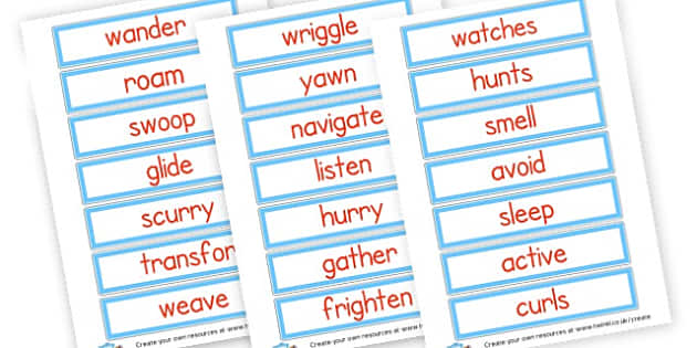 verb cards - nocturnal - Verb Primary Resources, verbs, noun, adjective, wow, keywords