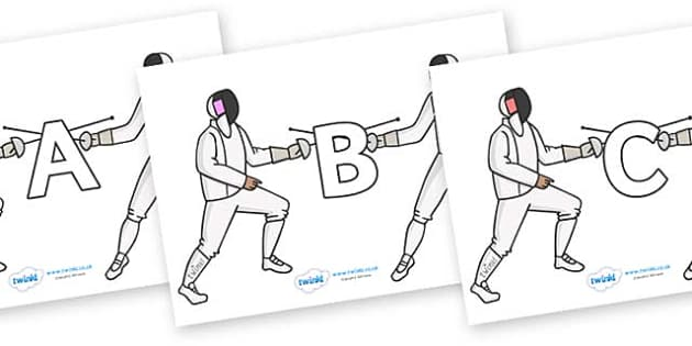 A-Z Alphabet on Fencing - A-Z, A4, display, Alphabet frieze, Display letters, Letter posters, A-Z letters, Alphabet flashcards