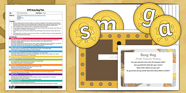 EYFS Pirates Treasure Posting Busy Bag Plan and Resource Pack