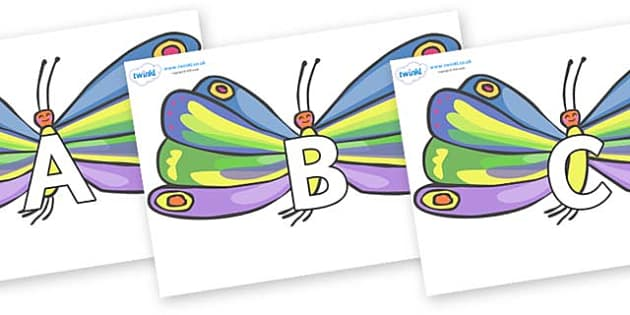 A-Z Alphabet on Butterflies to Support Teaching on The Very Hungry Caterpillar - A-Z, A4, display, Alphabet frieze, Display letters, Letter posters, A-Z letters, Alphabet flashcards
