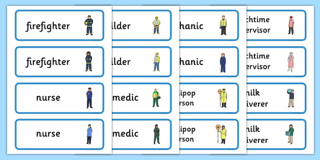 People Who Help Us Word Cards - People who help us, Display, Word card, flashcard, Role Play, Doctor, Nurse, Teacher, Police, Fire fighter, Paramedic, Builder, Caretaker, Lollipop, Traffic Warden, Lunchtime supervisor, lunch time assi