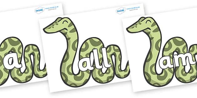 Foundation Stage 2 Keywords on Snakes - FS2, CLL, keywords, Communication language and literacy,  Display, Key words, high frequency words, foundation stage literacy, DfES Letters and Sounds, Letters and Sounds, spelling