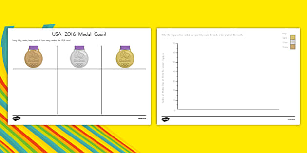 USA 2016 Olympic Medal Count and Graph Activity Sheet, worksheet