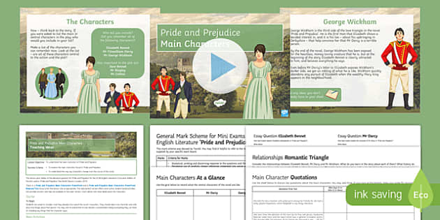 Pride and Prejudice Main Characters Lesson Pack 1