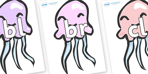 Initial Letter Blends on Jellyfish - Initial Letters, initial letter, letter blend, letter blends, consonant, consonants, digraph, trigraph, literacy, alphabet, letters, foundation stage literacy