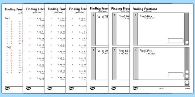 KS1 Arithmetic Content Practice Activity Sheets Finding Fractions of Quantities Arabic Translation - arabic, Maths, KS1, Key Stage 1, Arithmetic, fractions, half, quarter, third, three quarters, worksheet