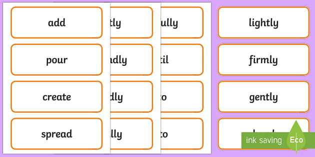 Stage 1 Procedure Language Word Cards - Literacy, year 1, year 2, procedure, types of text, text types, language, description, word cards, d