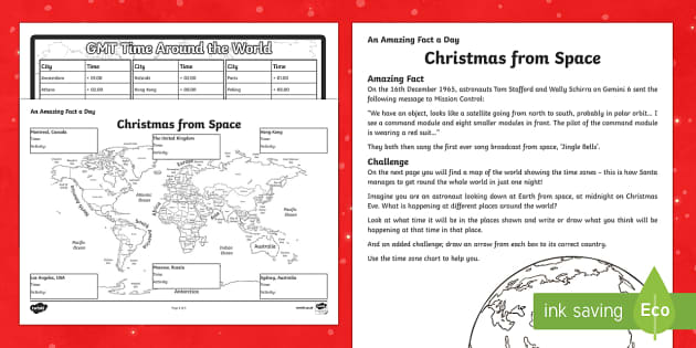Amazing Fact a Day KS2 Countdown to Christmas Day 16 Christmas from Space Activity Sheet - Amazing Fact Of The Day, activity sheets, powerpoint, starter, morning activity, December, Christmas