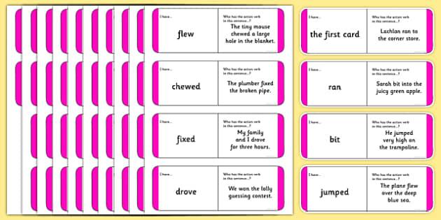 Australian Year 2 Action Verb Loop Cards - australia, Phonics, grammar, language, literacy, action verbs, loop cards, talking, listening, ACELA1452