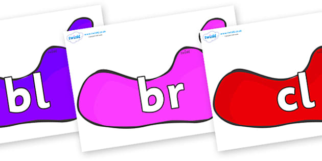Initial Letter Blends on Footprints - Initial Letters, initial letter, letter blend, letter blends, consonant, consonants, digraph, trigraph, literacy, alphabet, letters, foundation stage literacy