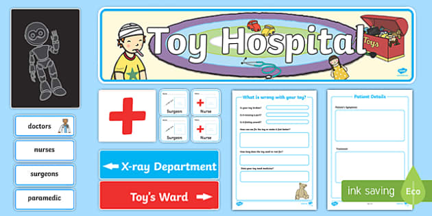 Toy Hospital Role Play Pack - toy hospital, toys, role play, play, pack, dolly, cars, balls, dolls, teddy, toy animals