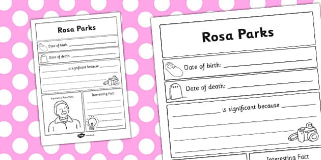 Rosa Parks Significant Individual Writing Frame - writing frame