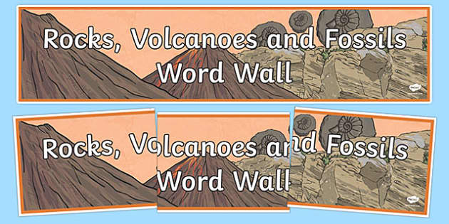 Rocks Volcanoes and Fossils Word Wall Display Banner - display