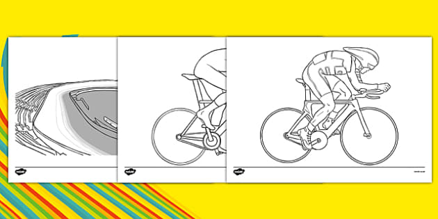The Olympics Cycling Colouring Sheets - Cycling, Olympics, Olympic Games, sports, Olympic, London, 2012, colouring, fine motor skills, poster, worksheet, vines, A4, display, activity, Olympic torch, events, flag, countries, medal, Olympic Rings, masc