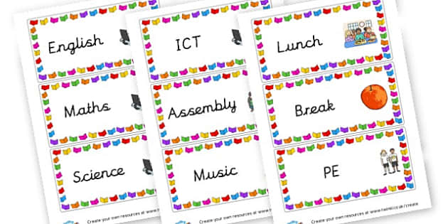 Board Labels - Visual Timetables Primary Resources, visual, timetables, routine