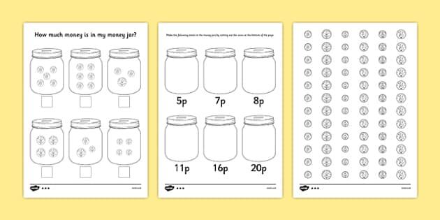How Much Money Is in My Money Jar Differentiated Worksheets - how much money, money jar, money, differentiated, worksheets