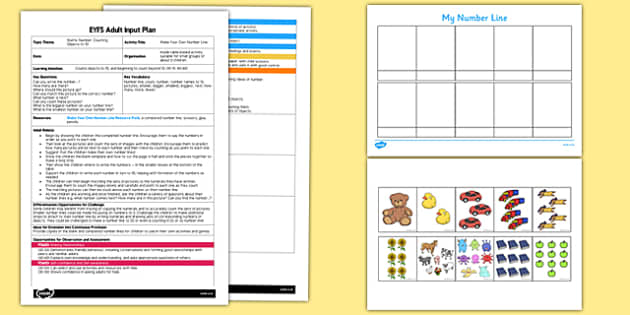 Make Your Own Number Line EYFS Adult Input Plan and Resource Pack - make, own, number line, adult, input, plan