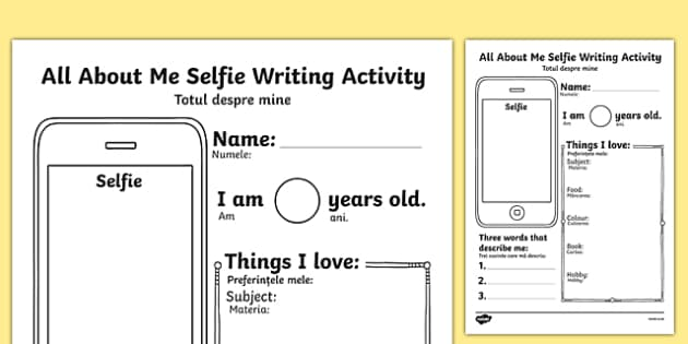 All About Me Selfie Writing Activity Sheet Romanian Translation - romanian, photo, selfie, mobile, transition, getting to know you, new class, beginning of year, iphone, worksheet