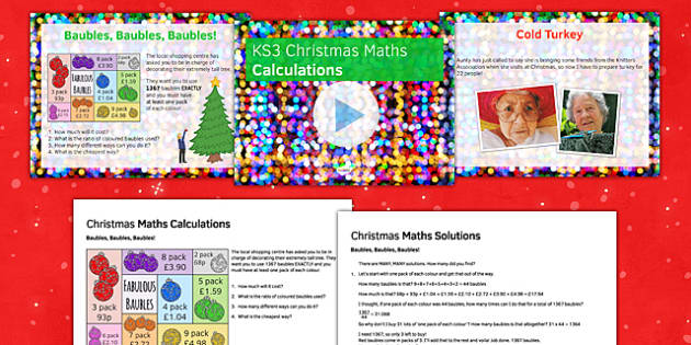 Christmas Maths Calculations - french, Maths, KS 3, christmas, calculation, multiplication, division, estimation, problem solving