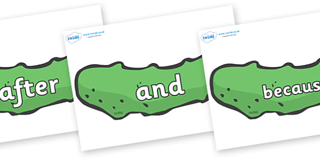 Connectives on Pickles to Support Teaching on The Very Hungry Caterpillar - Connectives, VCOP, connective resources, connectives display words, connective displays