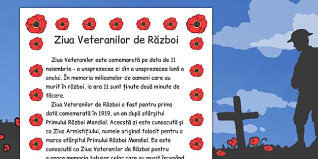 Fisa Informativa, Ziua Veteranilor de Razboi  , Romanian