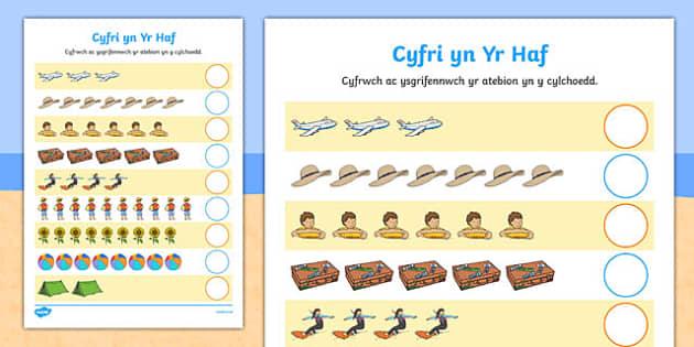 Cyfri yn Yr Haf Cymraeg - welsh, cymraeg, Counting worksheet, Summer, counting, activity, how many, foundation numeracy, counting on, counting back, holiday, holidays, seasons, beach, sun, flowers, ice cream, sea, seaside