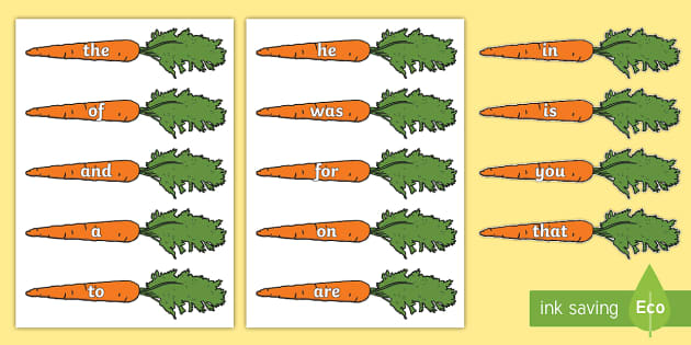 Sight Word Carrots Cut Outs - Sight word games,Australia
