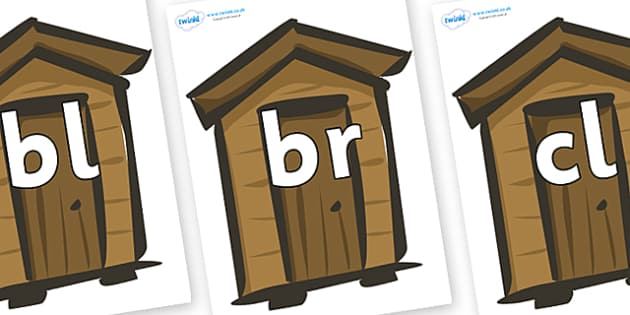 Initial Letter Blends on Sheds - Initial Letters, initial letter, letter blend, letter blends, consonant, consonants, digraph, trigraph, literacy, alphabet, letters, foundation stage literacy