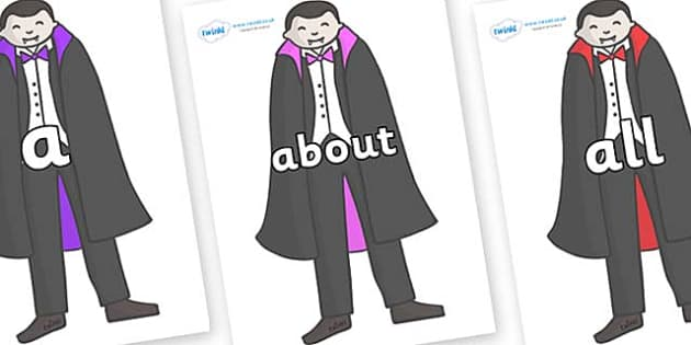 100 High Frequency Words on Vampires - High frequency words, hfw, DfES Letters and Sounds, Letters and Sounds, display words
