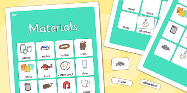 Materials Vocabulary Poster - materials, display posters, themed posters, images, pictures, key words, materials posters, materials vocabulary, vocabulary