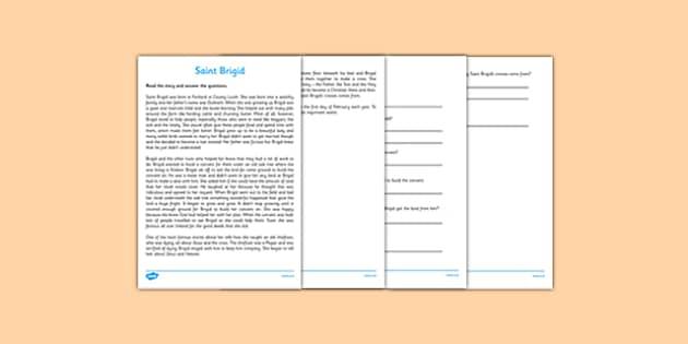 Saint Brigid Reading Comprehension Activity - gaeilge, Saint Brigid, Reading, Comprehension, Religion, story