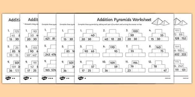 Addition Pyramids Worksheet addition pyramids addition – Maths Pyramids Worksheets