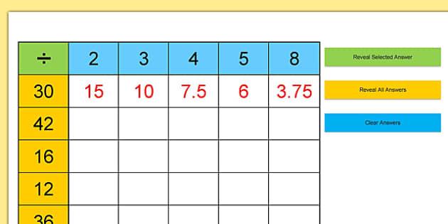 Division Grid Practice Starter - division grid, practice, starter, division, grid