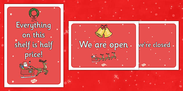 Christmas Shop Role Play Signs - christmas shop, role play, signs, display