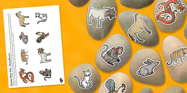 Chinese New Year Story Stones Image Cut-Outs - Story stones, stone art, painted rocks,  story telling, festival, spring, Chinese new year