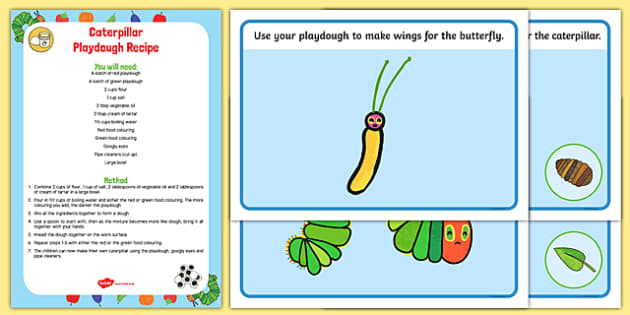 EYFS Playdough Recipe and Mat Pack to Support Teaching on The Very Hungry Caterpillar - EYFS, malleable, physical, moving and handling, fine motor skills, Eric Carle