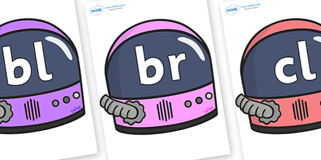 Initial Letter Blends on Astronaut Helmets - Initial Letters, initial letter, letter blend, letter blends, consonant, consonants, digraph, trigraph, literacy, alphabet, letters, foundation stage literacy