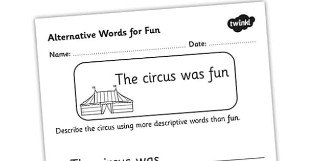 Alternative Words For Fun Worksheet - alternative words for fun, better words for fun, other words for fun, synonyms, synonym worksheet, synonyms for fun